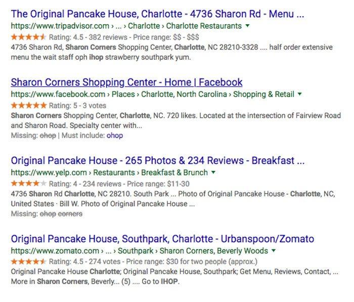 Google ratings screenshot example for reputation management